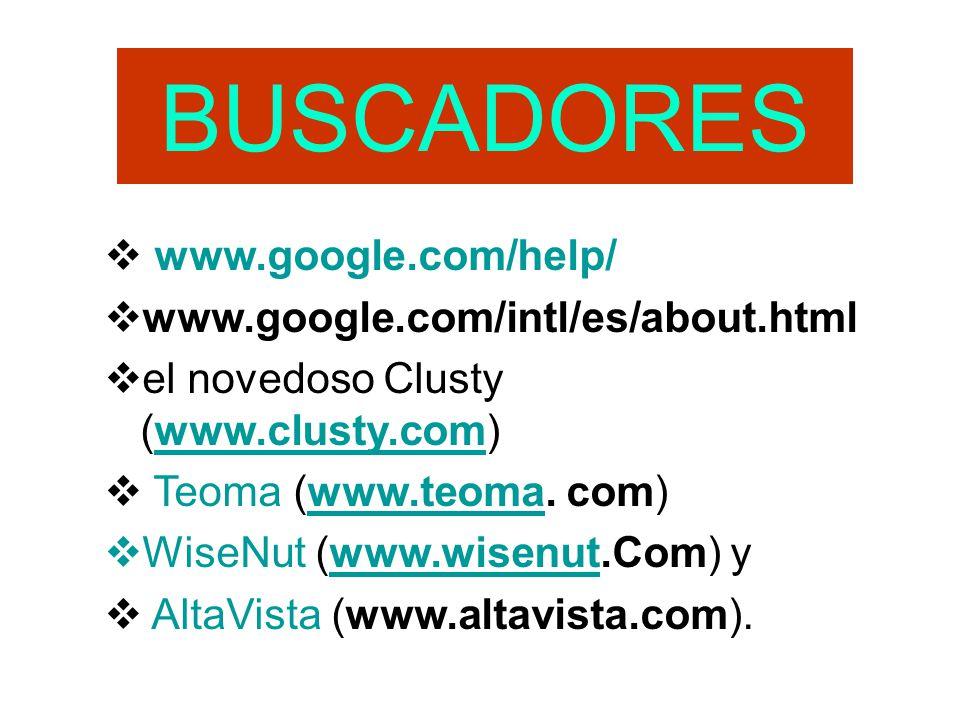 BUSCADORES www.google.com/help/ www.google.com/intl/es/about.html el novedoso Clusty (www.clusty.com)www.clusty.com Teoma (www.teoma. com)www.teoma Wi