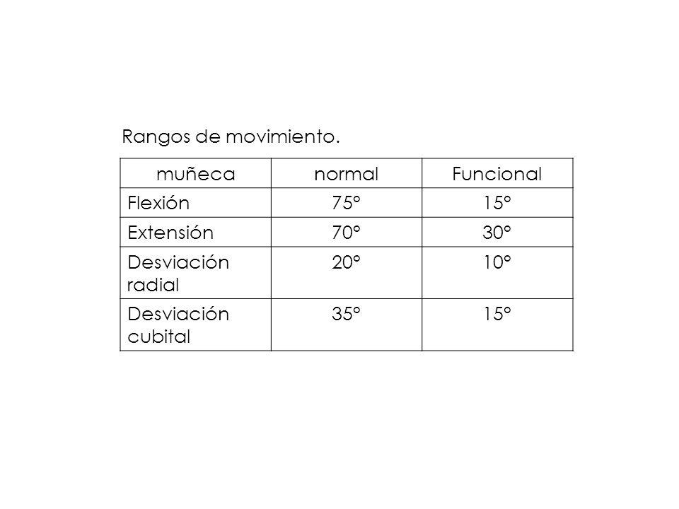 Rangos de movimiento. muñecanormalFuncional Flexión75°15° Extensión70°30° Desviación radial 20°10° Desviación cubital 35°15°