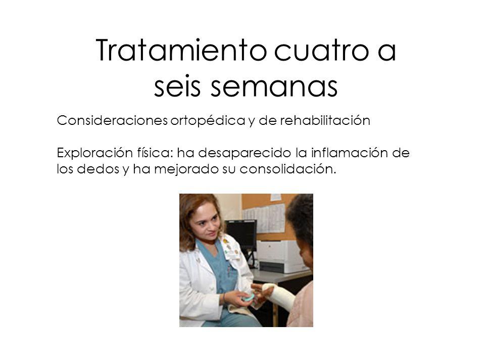 Tratamiento cuatro a seis semanas Consideraciones ortopédica y de rehabilitación Exploración física: ha desaparecido la inflamación de los dedos y ha