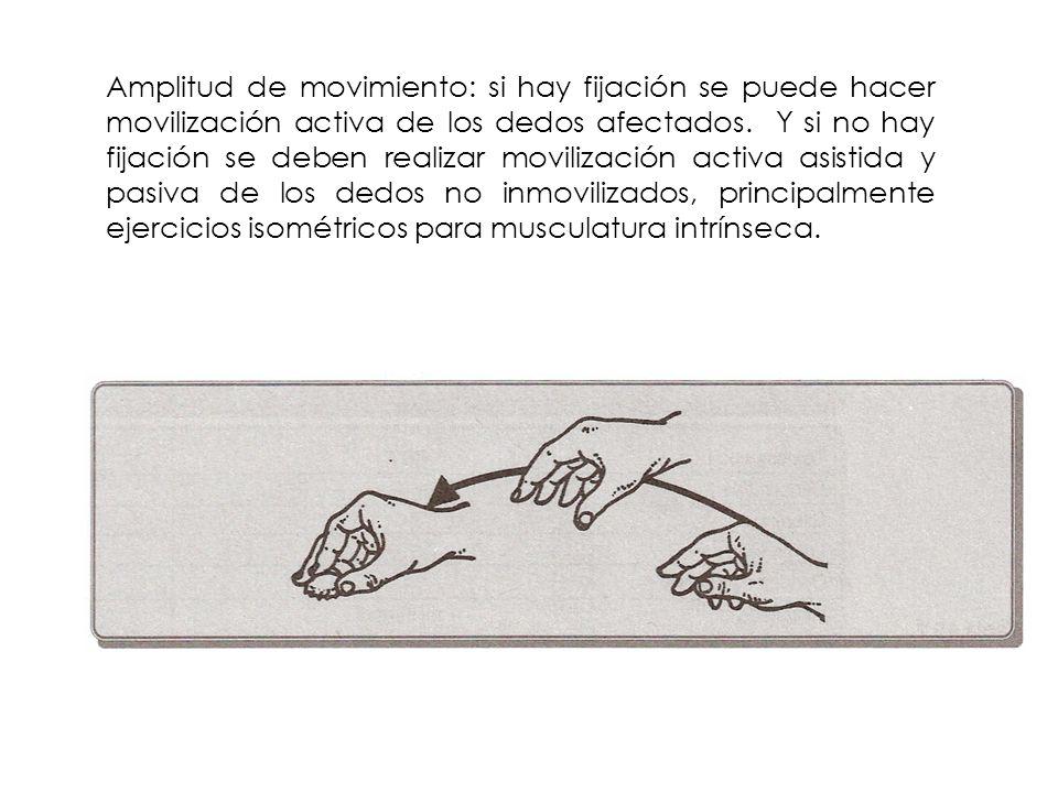 Amplitud de movimiento: si hay fijación se puede hacer movilización activa de los dedos afectados. Y si no hay fijación se deben realizar movilización