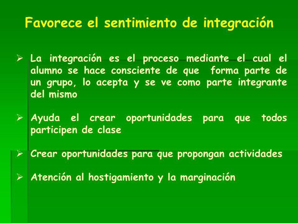 La integración es el proceso mediante el cual el alumno se hace consciente de que forma parte de un grupo, lo acepta y se ve como parte integrante del
