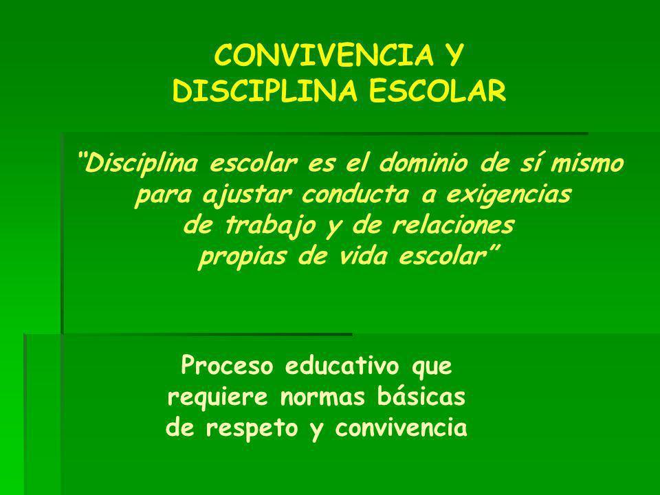 CONVIVENCIA Y DISCIPLINA ESCOLAR Proceso educativo que requiere normas básicas de respeto y convivencia Disciplina escolar es el dominio de sí mismo p