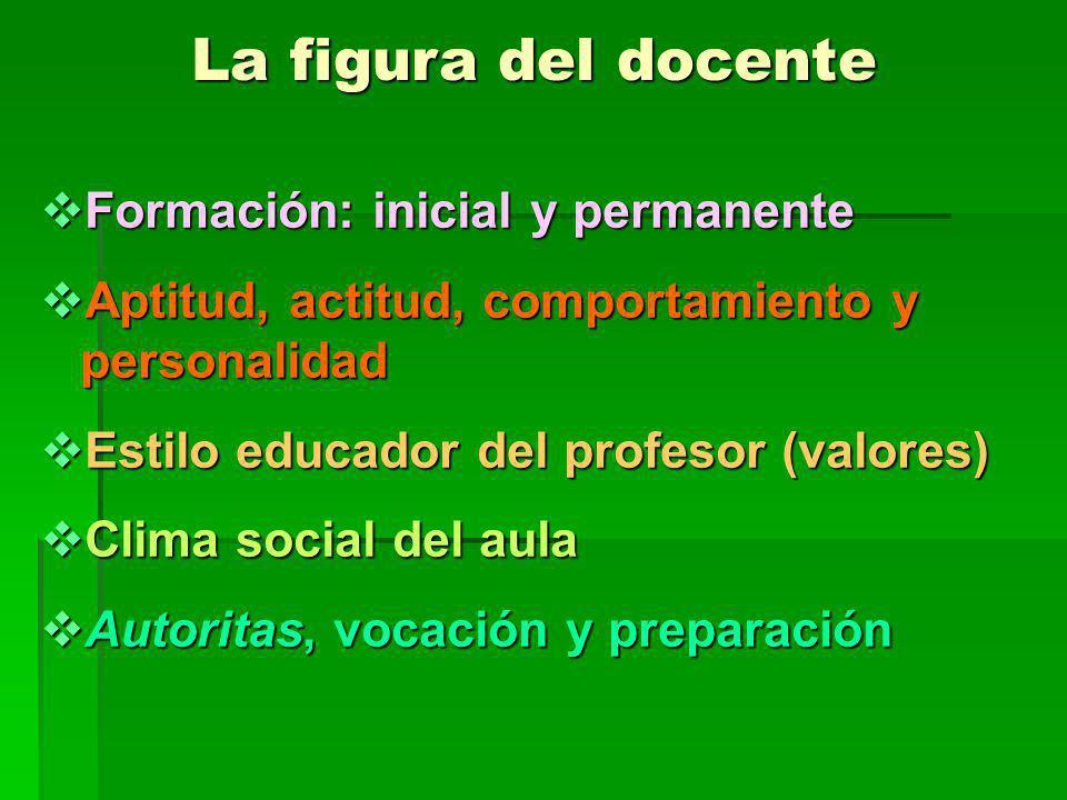La figura del docente Formación: inicial y permanente Formación: inicial y permanente Aptitud, actitud, comportamiento y personalidad Aptitud, actitud