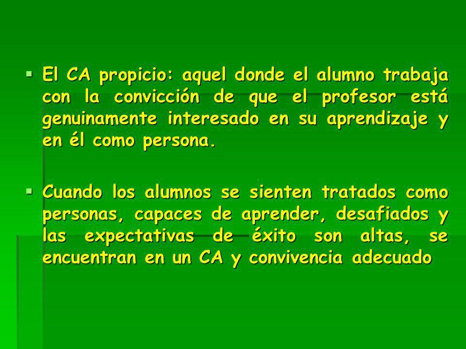 El CA propicio: aquel donde el alumno trabaja con la convicción de que el profesor está genuinamente interesado en su aprendizaje y en él como persona
