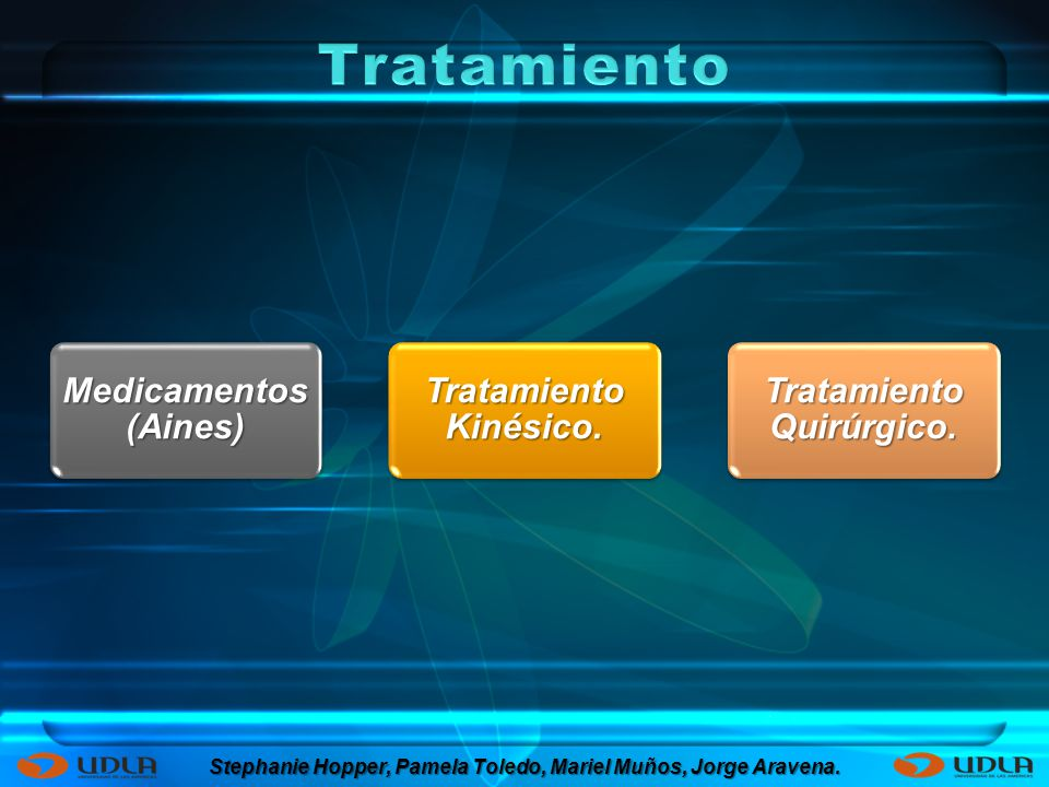 Medicamentos (Aines) Tratamiento Kinésico. Tratamiento Quirúrgico. Stephanie Hopper, Pamela Toledo, Mariel Muños, Jorge Aravena.