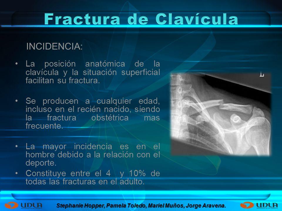La posición anatómica de la clavícula y la situación superficial facilitan su fractura. Se producen a cualquier edad, incluso en el recién nacido, sie