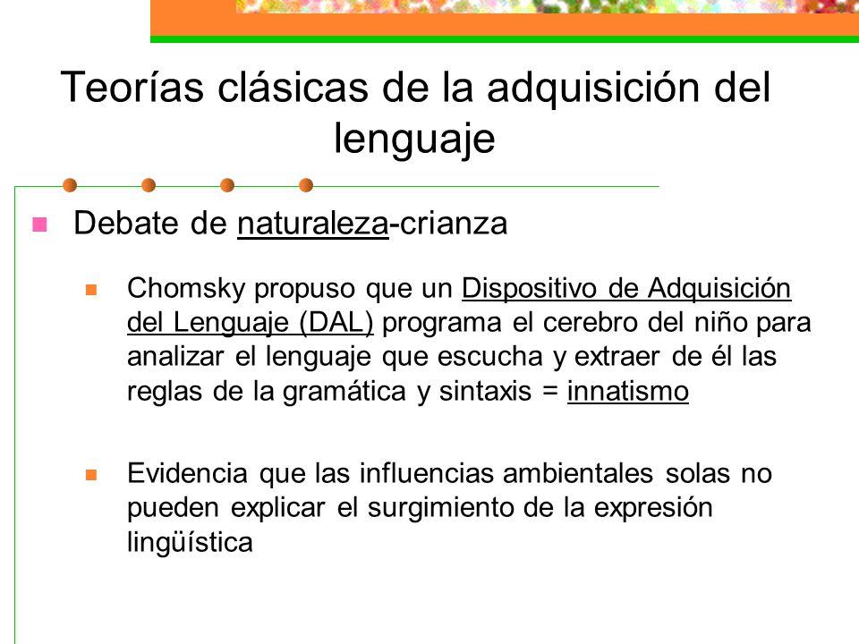 Teorías clásicas de la adquisición del lenguaje El debate de naturaleza-crianza Skinner (1957) sostuvo que el aprendizaje del lenguaje, como otro apre