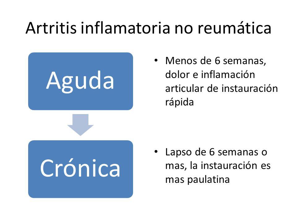 Artritis inflamatoria no reumática AgudaCrónica Menos de 6 semanas, dolor e inflamación articular de instauración rápida Lapso de 6 semanas o mas, la instauración es mas paulatina