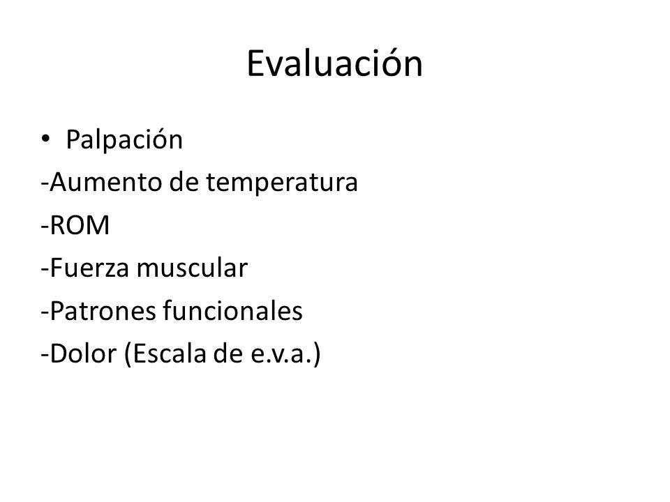 Evaluación Palpación -Aumento de temperatura -ROM -Fuerza muscular -Patrones funcionales -Dolor (Escala de e.v.a.)