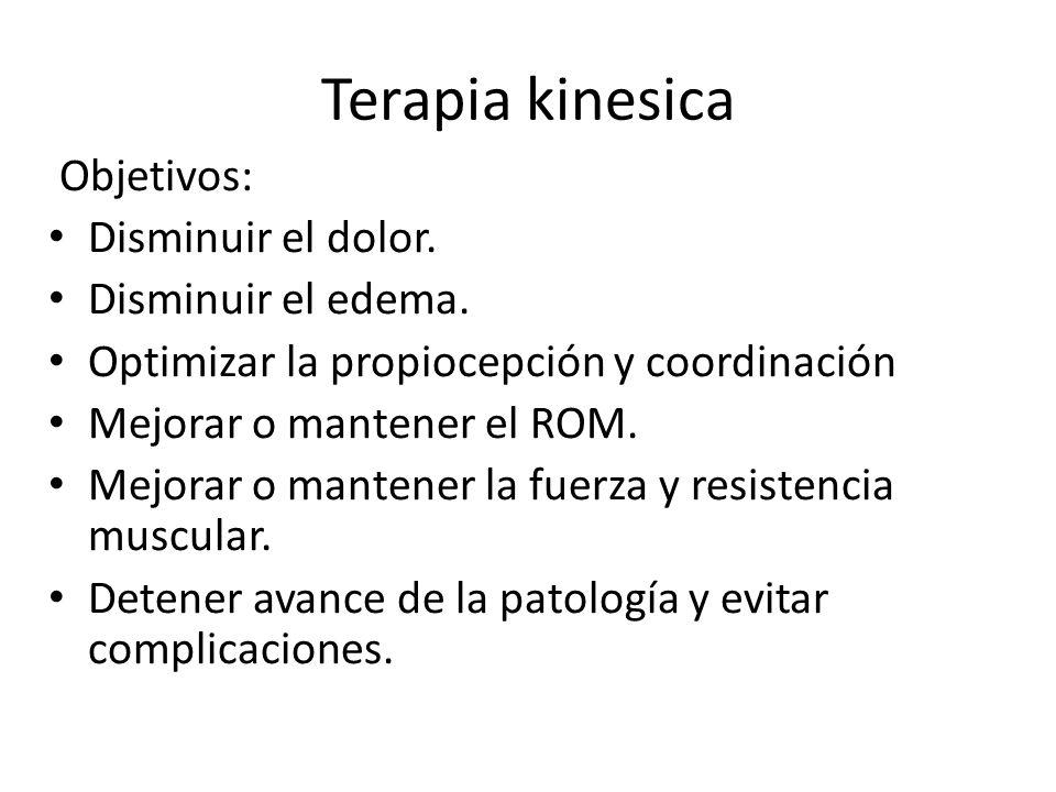 Terapia kinesica Objetivos: Disminuir el dolor.Disminuir el edema.