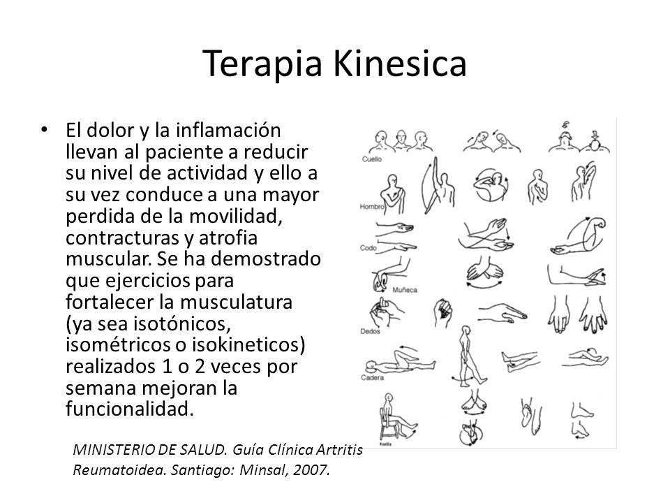 Terapia Kinesica El dolor y la inflamación llevan al paciente a reducir su nivel de actividad y ello a su vez conduce a una mayor perdida de la movilidad, contracturas y atrofia muscular.