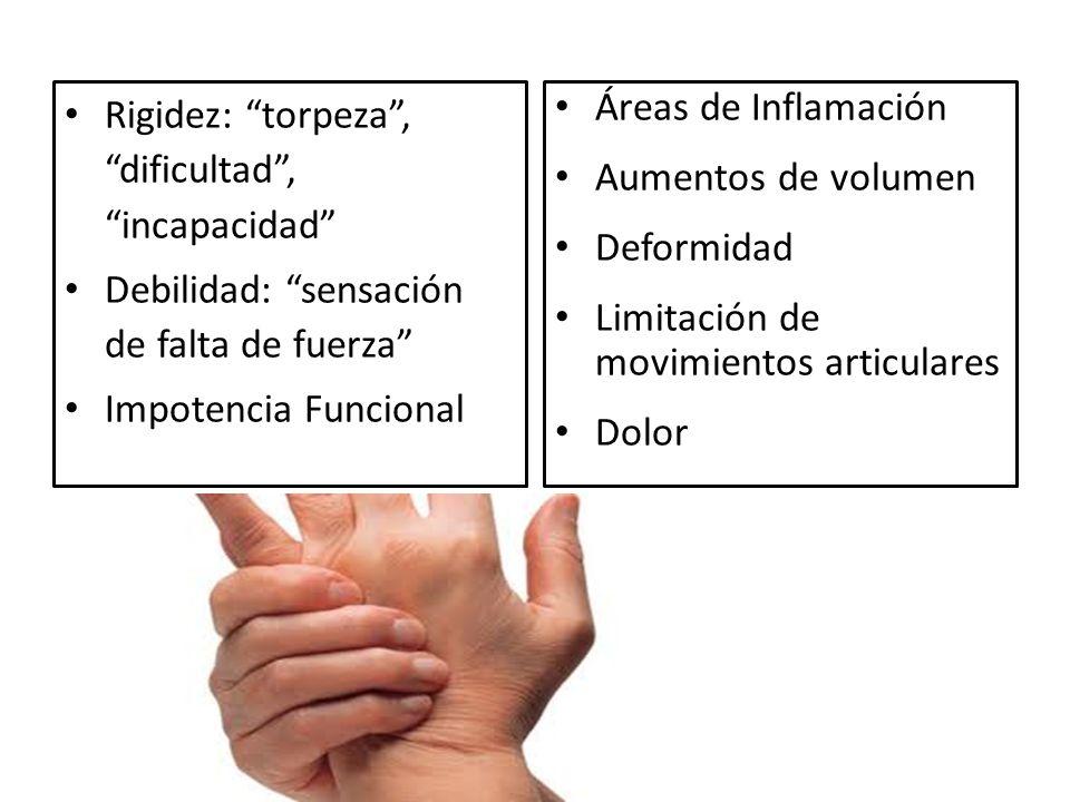 Rigidez: torpeza, dificultad, incapacidad Debilidad: sensación de falta de fuerza Impotencia Funcional Áreas de Inflamación Aumentos de volumen Deformidad Limitación de movimientos articulares Dolor