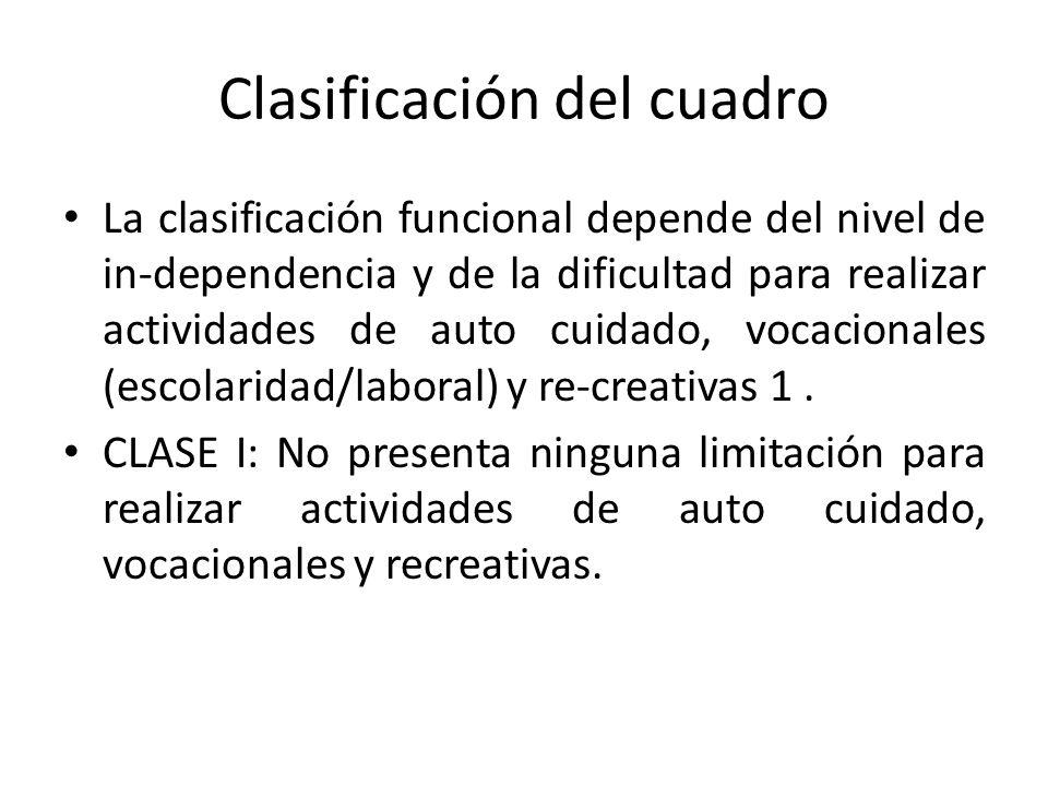 Clasificación del cuadro La clasificación funcional depende del nivel de in-dependencia y de la dificultad para realizar actividades de auto cuidado, vocacionales (escolaridad/laboral) y re-creativas 1.
