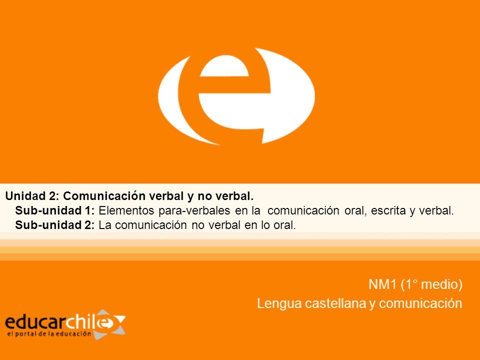 Unidad 2: Comunicación verbal y no verbal.