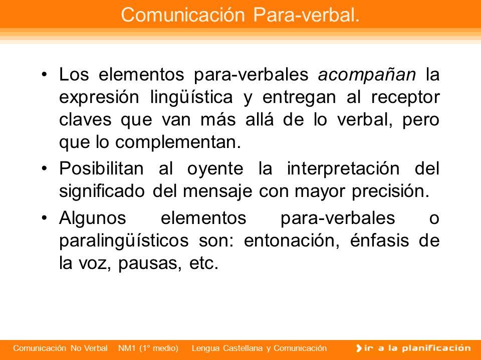 Comunicación No Verbal NM1 (1° medio) Lengua Castellana y Comunicación Los elementos para-verbales acompañan la expresión lingüística y entregan al receptor claves que van más allá de lo verbal, pero que lo complementan.