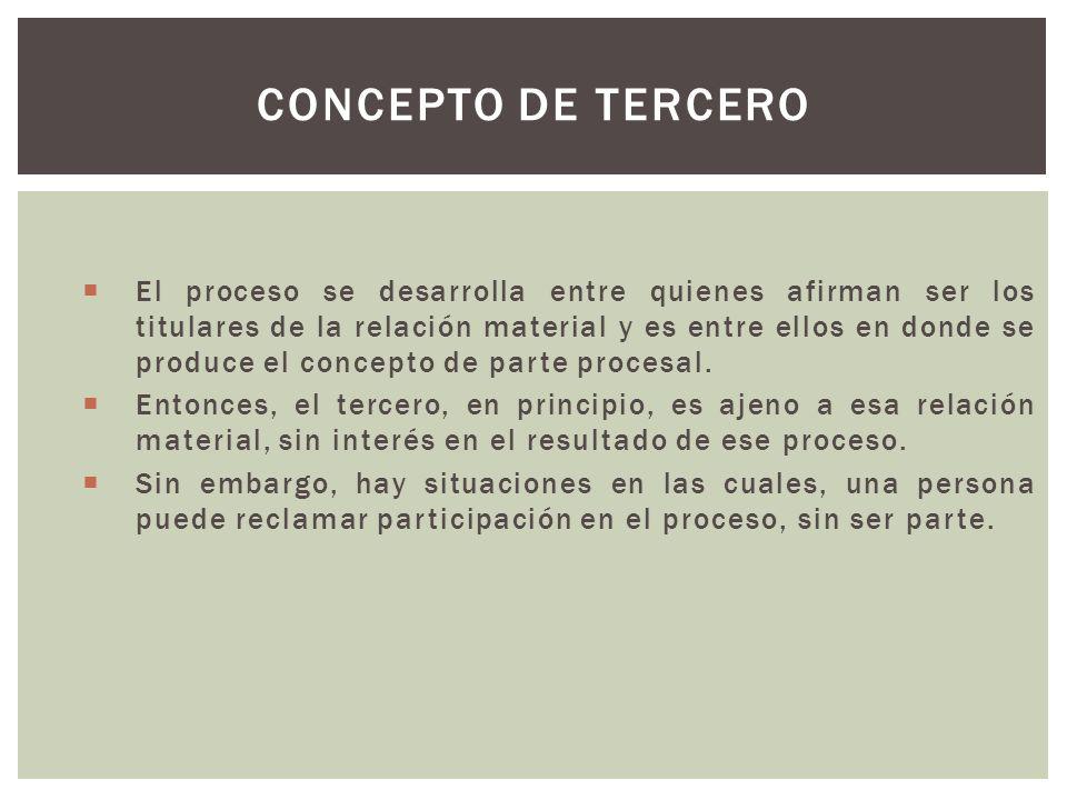 El proceso se desarrolla entre quienes afirman ser los titulares de la relación material y es entre ellos en donde se produce el concepto de parte procesal.