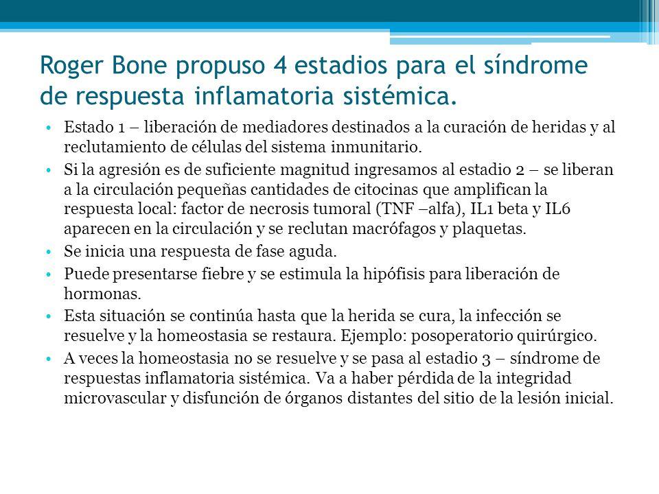 Roger Bone propuso 4 estadios para el síndrome de respuesta inflamatoria sistémica. Estado 1 – liberación de mediadores destinados a la curación de he