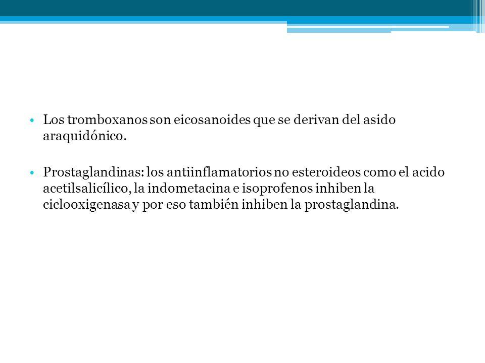 Los tromboxanos son eicosanoides que se derivan del asido araquidónico. Prostaglandinas: los antiinflamatorios no esteroideos como el acido acetilsali