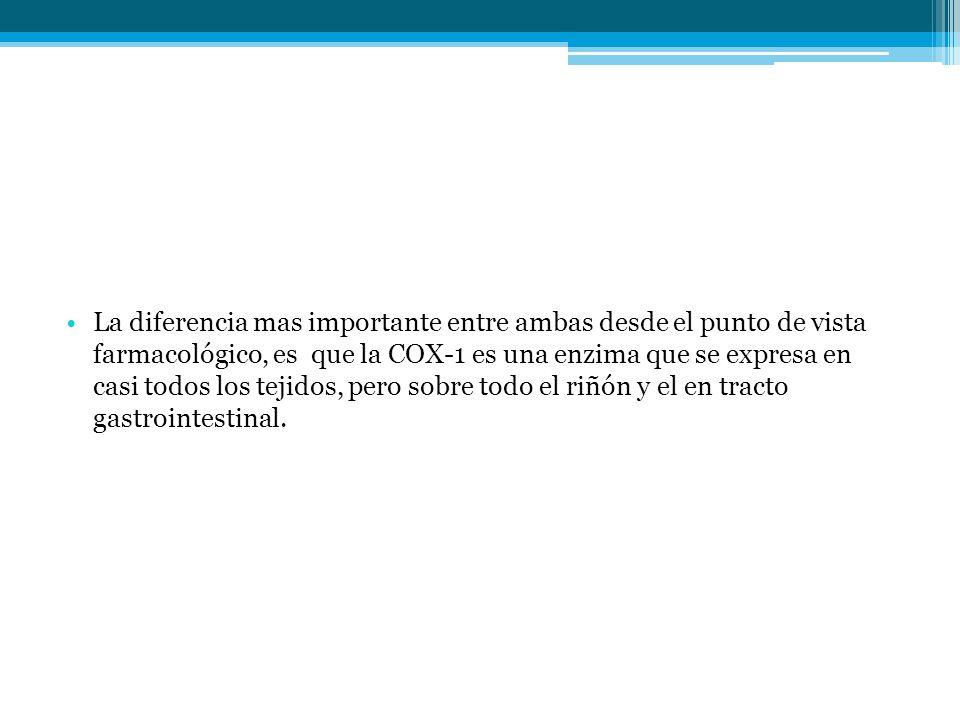 La diferencia mas importante entre ambas desde el punto de vista farmacológico, es que la COX-1 es una enzima que se expresa en casi todos los tejidos