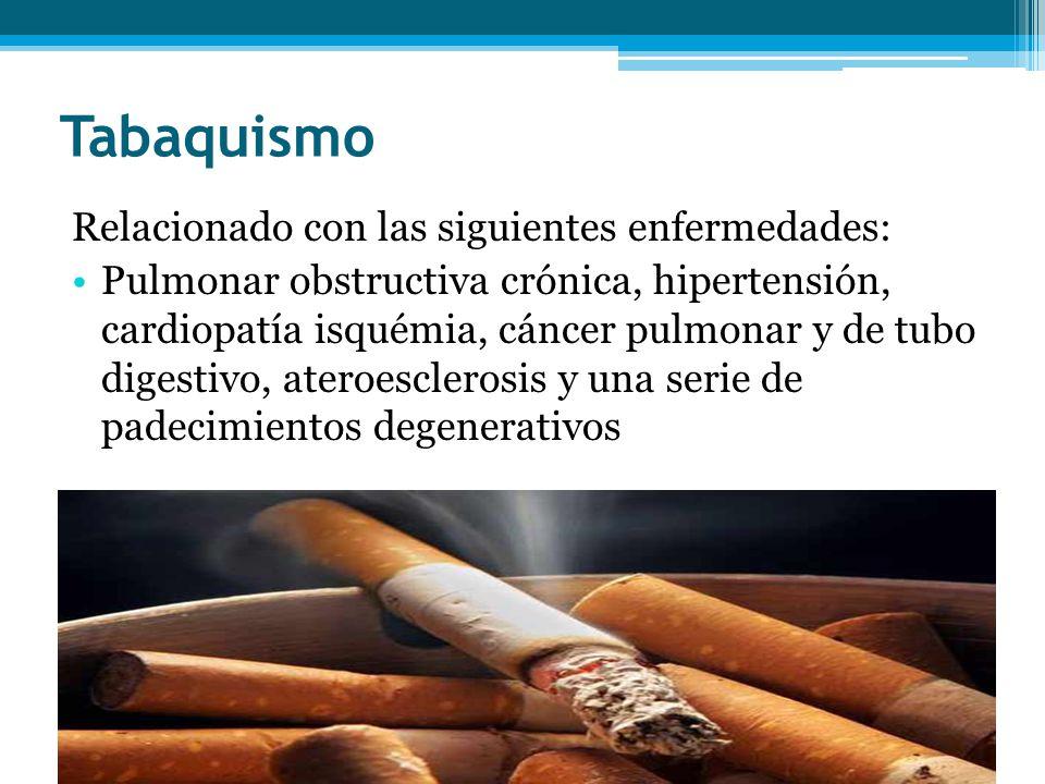 Tabaquismo Relacionado con las siguientes enfermedades: Pulmonar obstructiva crónica, hipertensión, cardiopatía isquémia, cáncer pulmonar y de tubo di