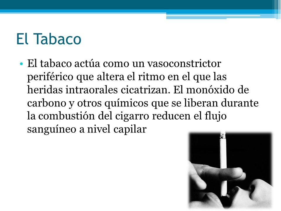 El Tabaco El tabaco actúa como un vasoconstrictor periférico que altera el ritmo en el que las heridas intraorales cicatrizan. El monóxido de carbono