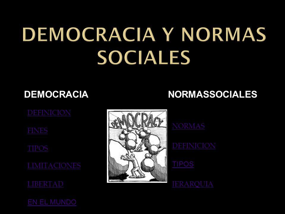 DEFINICION FINES TIPOS LIMITACIONES LIBERTAD NORMAS DEFINICION JERARQUIA TIPOS DEMOCRACIA NORMASSOCIALES DEMOCRACIA NORMASSOCIALES EN EL MUNDO