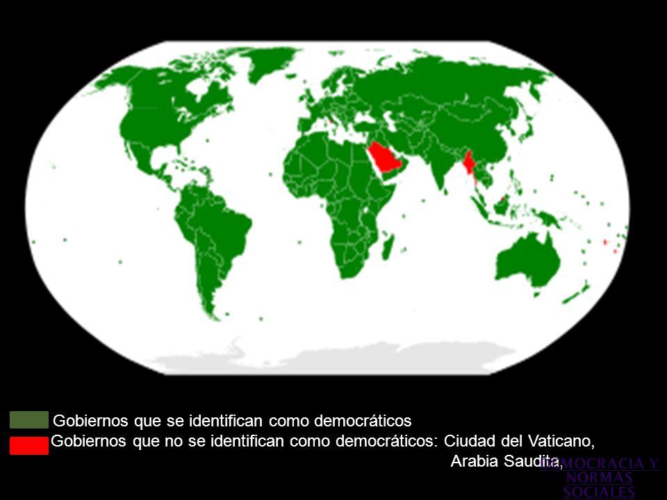 Gobiernos que se identifican como democráticos Gobiernos que no se identifican como democráticos: Ciudad del Vaticano, C Arabia Saudita,