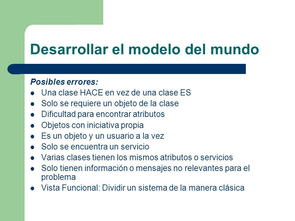 Desarrollar el modelo del mundo Posibles errores: Una clase HACE en vez de una clase ES Solo se requiere un objeto de la clase Dificultad para encontr