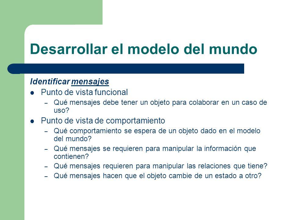 Desarrollar el modelo del mundo Identificar mensajesmensajes Punto de vista funcional – Qué mensajes debe tener un objeto para colaborar en un caso de