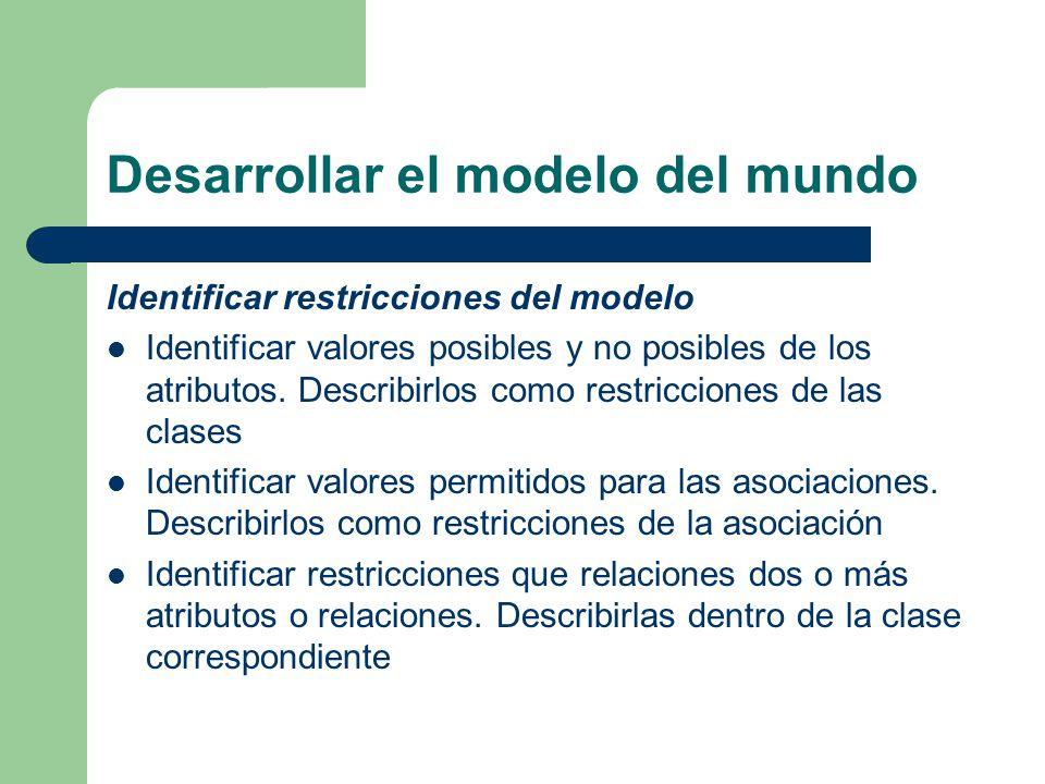 Desarrollar el modelo del mundo Identificar restricciones del modelo Identificar valores posibles y no posibles de los atributos. Describirlos como re