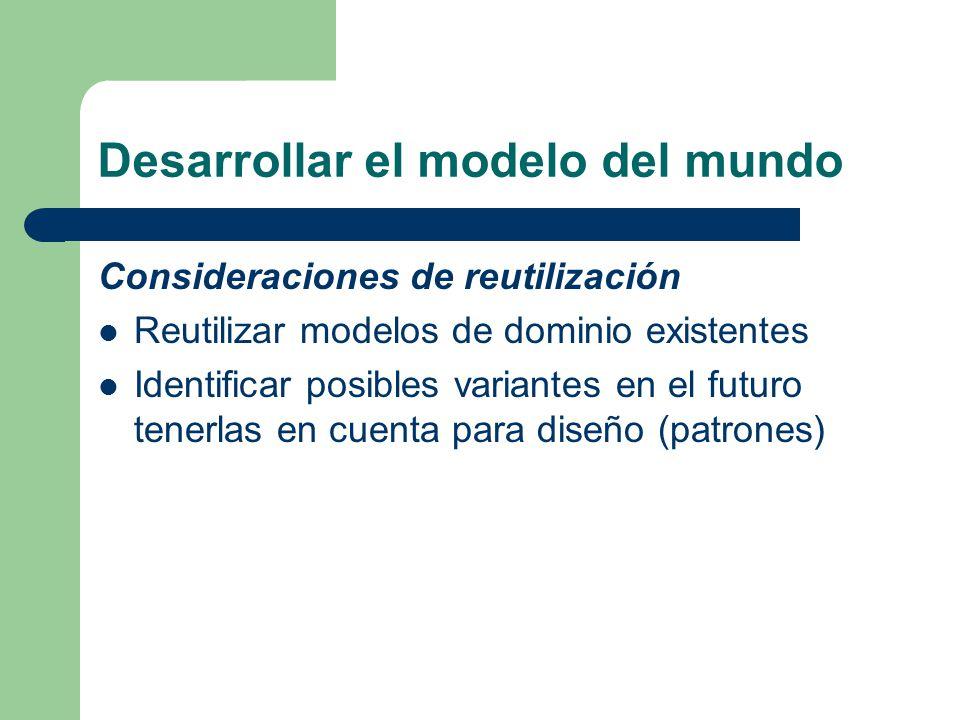 Desarrollar el modelo del mundo Consideraciones de reutilización Reutilizar modelos de dominio existentes Identificar posibles variantes en el futuro