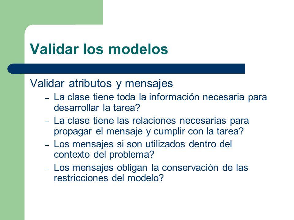 Validar los modelos Validar atributos y mensajes – La clase tiene toda la información necesaria para desarrollar la tarea? – La clase tiene las relaci