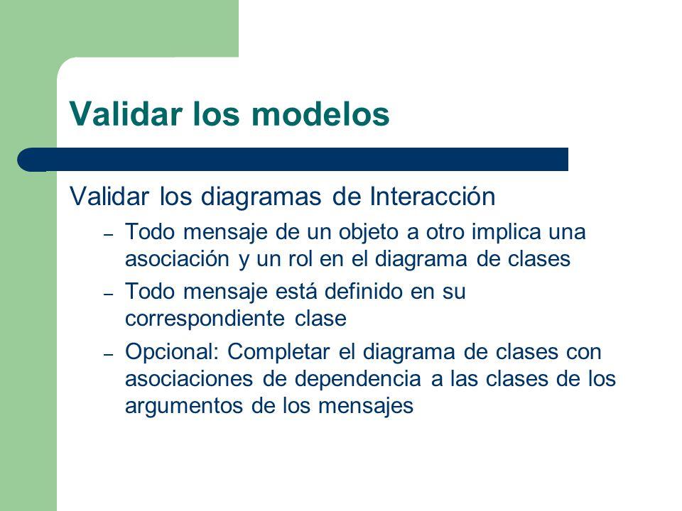 Validar los modelos Validar los diagramas de Interacción – Todo mensaje de un objeto a otro implica una asociación y un rol en el diagrama de clases –