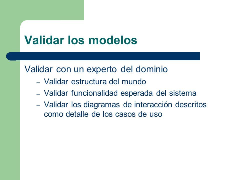 Validar los modelos Validar con un experto del dominio – Validar estructura del mundo – Validar funcionalidad esperada del sistema – Validar los diagr
