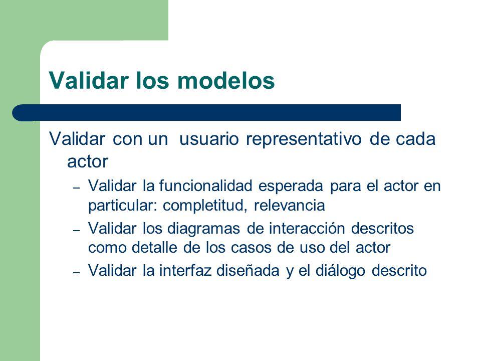 Validar los modelos Validar con un usuario representativo de cada actor – Validar la funcionalidad esperada para el actor en particular: completitud,