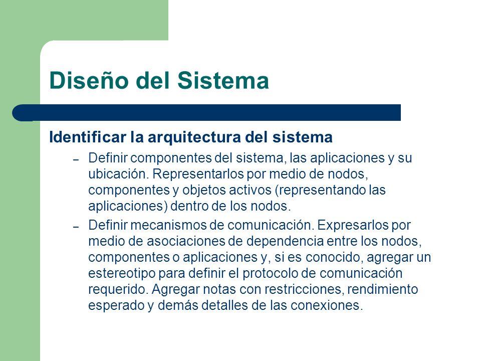 Diseño del Sistema Identificar la arquitectura del sistema – Definir componentes del sistema, las aplicaciones y su ubicación. Representarlos por medi