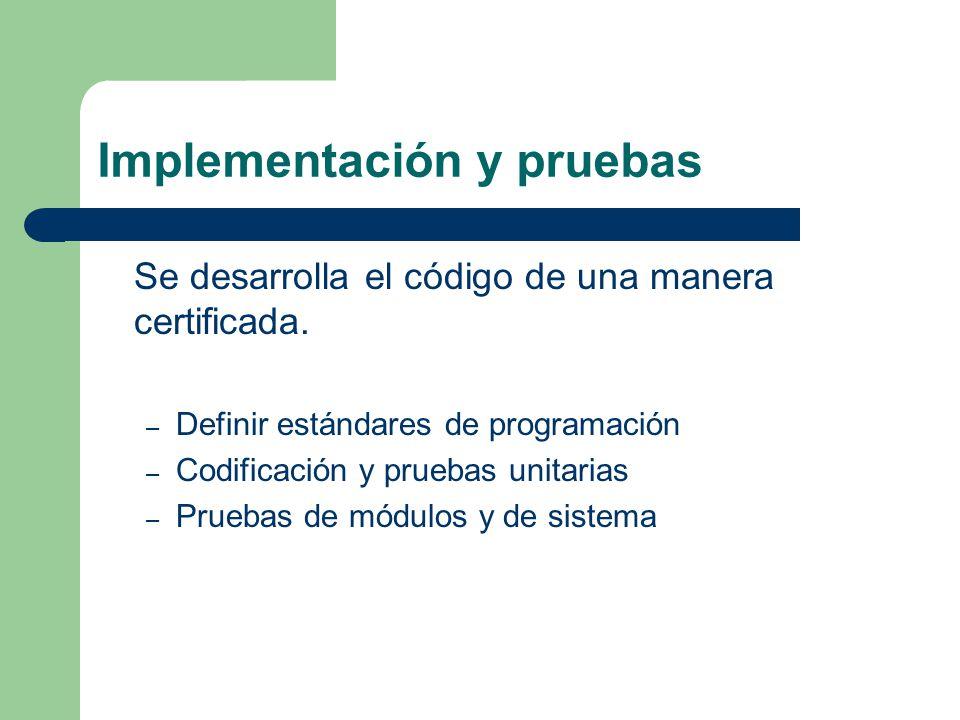 Implementación y pruebas Se desarrolla el código de una manera certificada. – Definir estándares de programación – Codificación y pruebas unitarias –