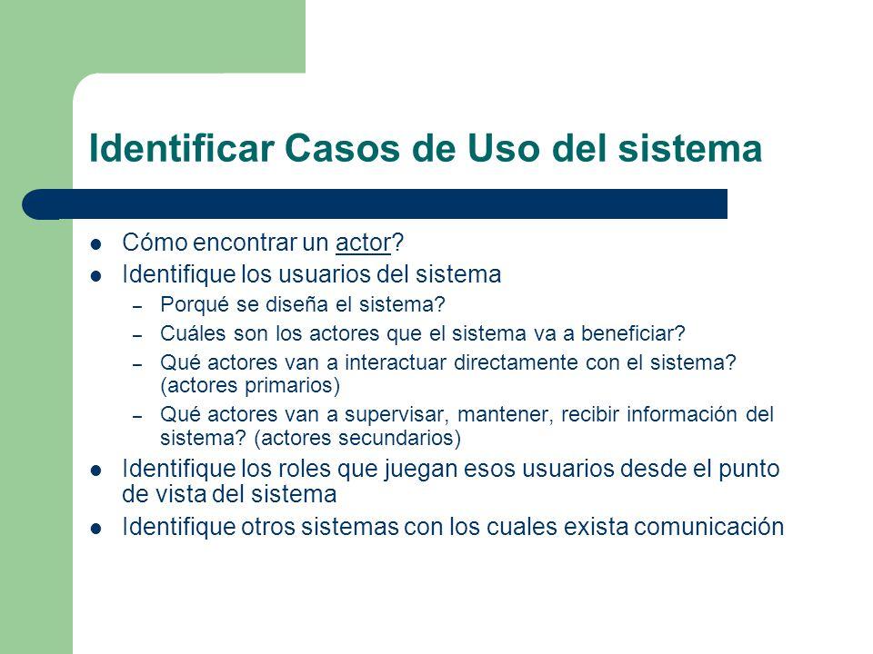 Identificar Casos de Uso del sistema Cómo encontrar un actor? actor Identifique los usuarios del sistema – Porqué se diseña el sistema? – Cuáles son l