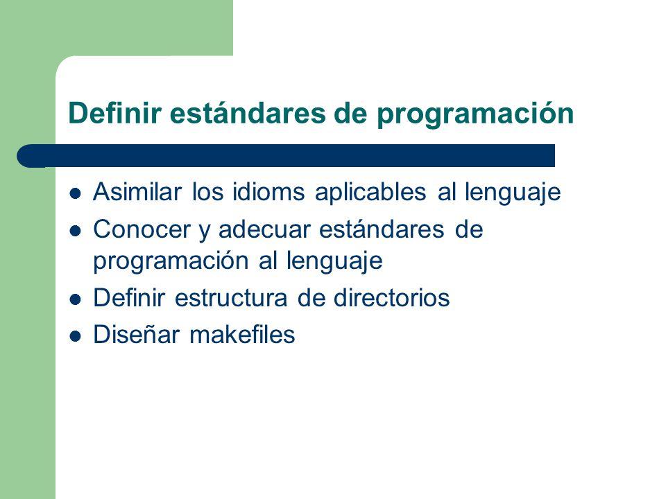 Definir estándares de programación Asimilar los idioms aplicables al lenguaje Conocer y adecuar estándares de programación al lenguaje Definir estruct