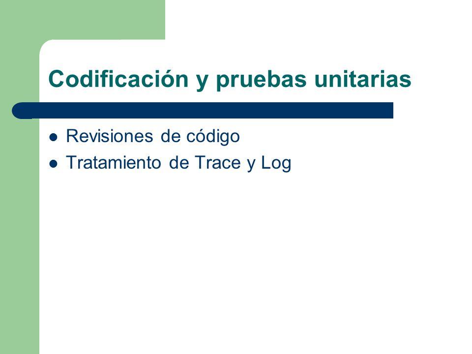 Codificación y pruebas unitarias Revisiones de código Tratamiento de Trace y Log