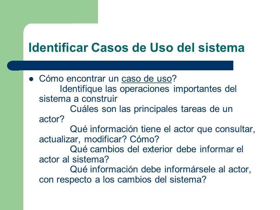Identificar Casos de Uso del sistema Cómo encontrar un caso de uso? Identifique las operaciones importantes del sistema a construir Cuáles son las pri