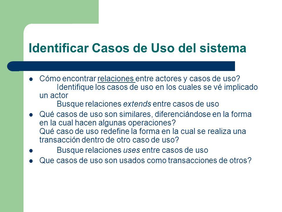 Identificar Casos de Uso del sistema Cómo encontrar relaciones entre actores y casos de uso? Identifique los casos de uso en los cuales se vé implicad