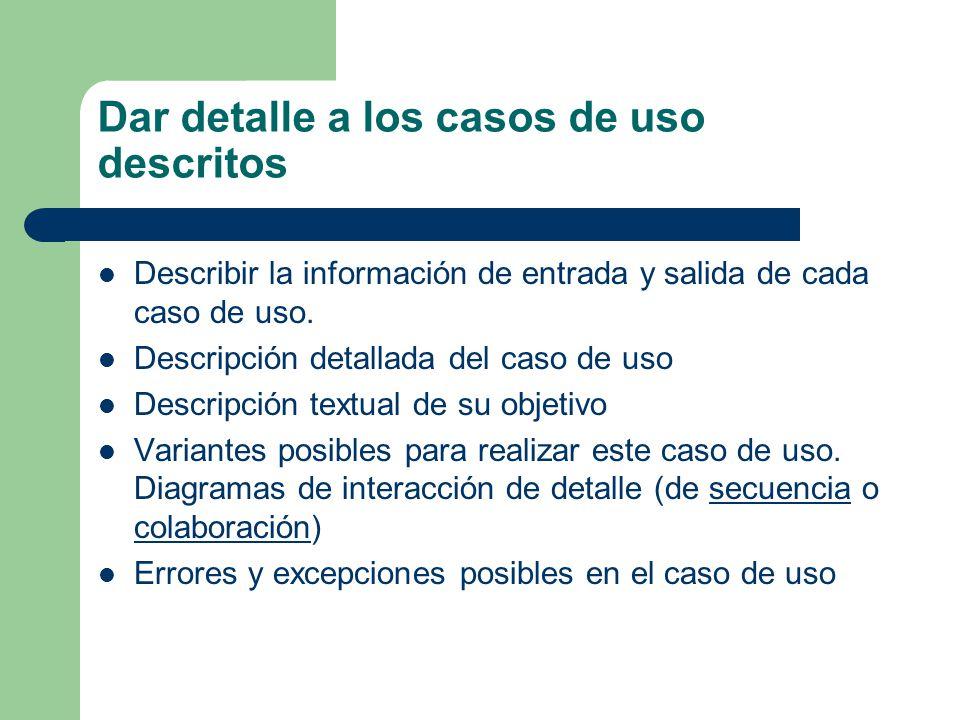 Dar detalle a los casos de uso descritos Describir la información de entrada y salida de cada caso de uso. Descripción detallada del caso de uso Descr