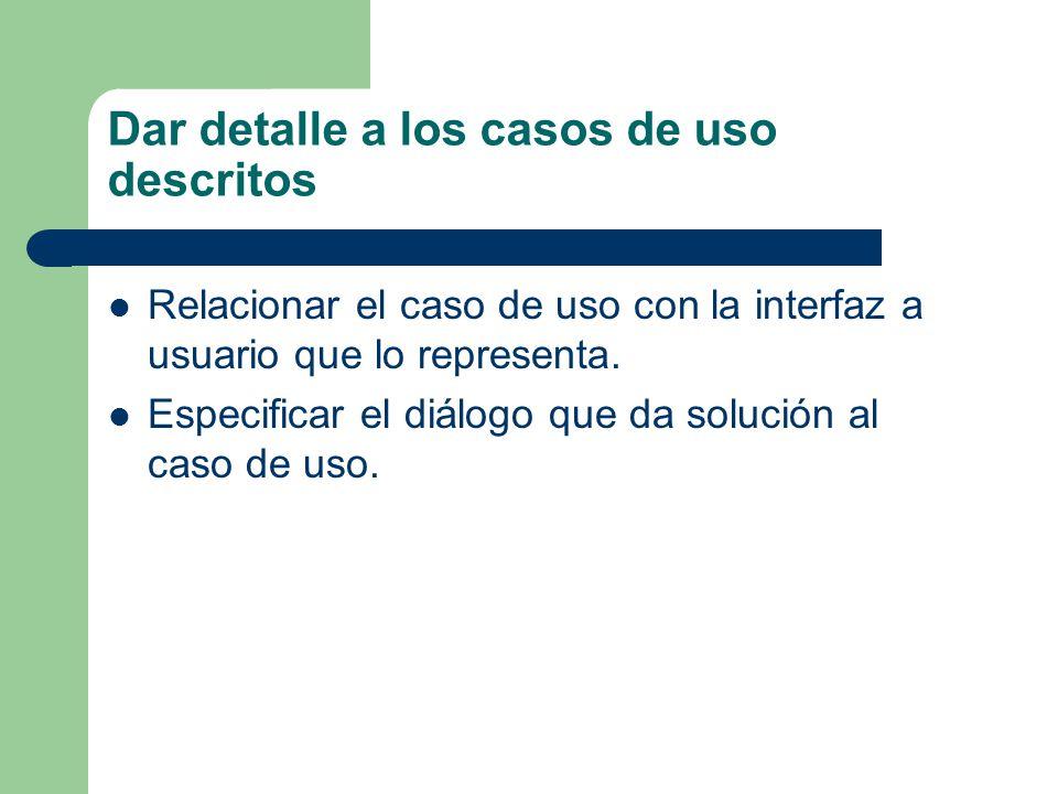 Dar detalle a los casos de uso descritos Relacionar el caso de uso con la interfaz a usuario que lo representa. Especificar el diálogo que da solución