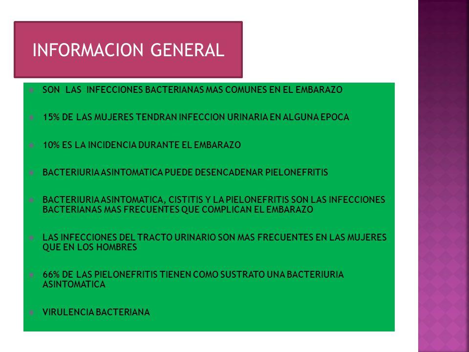 1-2% EN EL EMBARAZO COMPLICACION MEDICA GRAVE MAS FRECUENTE EN EL EMBARAZO DOS TERCIOS DE LOS CASOS SE ORIGINAN CON BACTERIURIA PREEXISTENTE EN EL EMBARAZO SE AUMENTA SIGNIFICATIVAMENTE EL RIESGO DE PADECERLA MOTIVO PRINCIPAL ES LA UROPATIA OBSTRUCTIVA MOYORIA DE CASOS OCURREN EN EL SEGUNDO Y TERCER TRIMESTRE