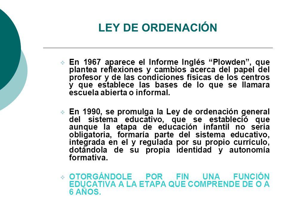 LEY DE ORDENACIÓN En 1967 aparece el Informe Inglés Plowden, que plantea reflexiones y cambios acerca del papel del profesor y de las condiciones físicas de los centros y que establece las bases de lo que se llamara escuela abierta o informal.