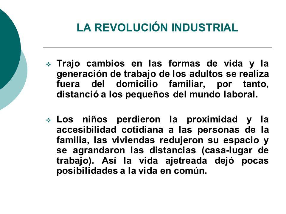 LA REVOLUCIÓN INDUSTRIAL Trajo cambios en las formas de vida y la generación de trabajo de los adultos se realiza fuera del domicilio familiar, por tanto, distanció a los pequeños del mundo laboral.