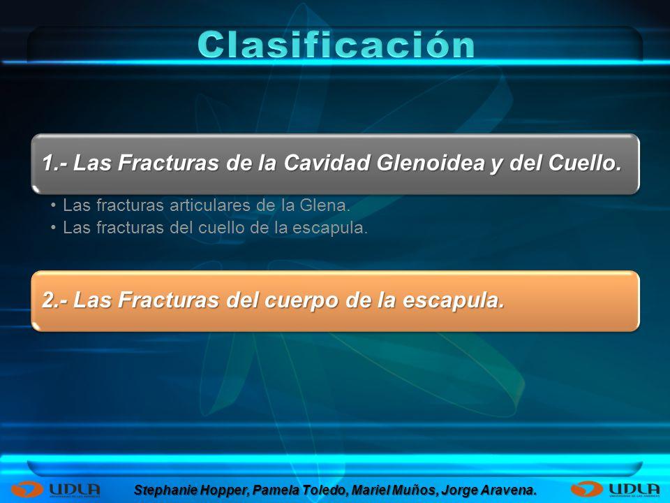 1.- Las Fracturas de la Cavidad Glenoidea y del Cuello. Las fracturas articulares de la Glena. Las fracturas del cuello de la escapula. 2.- Las Fractu