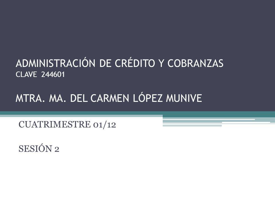ADMINISTRACIÓN DE CRÉDITO Y COBRANZAS CLAVE 244601 MTRA.