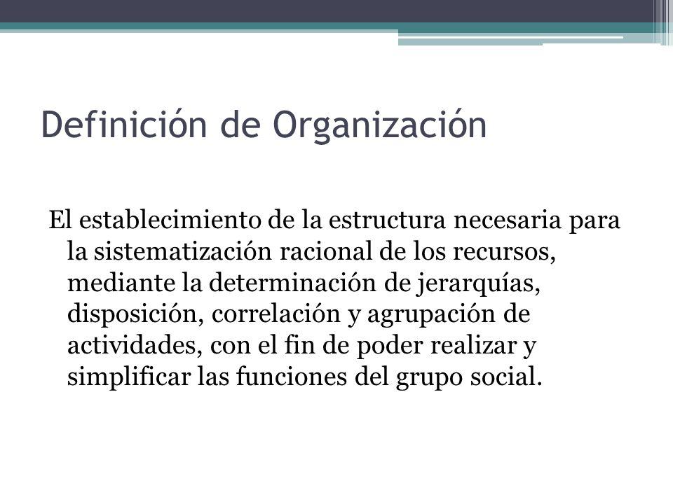 El establecimiento de la estructura necesaria para la sistematización racional de los recursos, mediante la determinación de jerarquías, disposición, correlación y agrupación de actividades, con el fin de poder realizar y simplificar las funciones del grupo social.